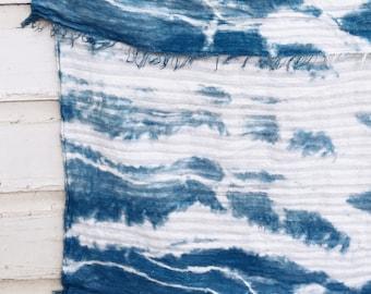 Indigo Swaddle Blanket | Hand Dyed Woven Cotton