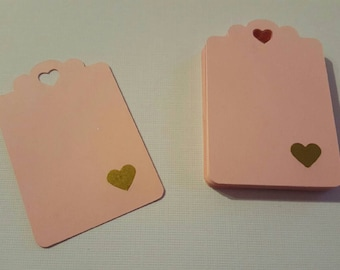 24 pink gold heart tags 2.5'x1.6'