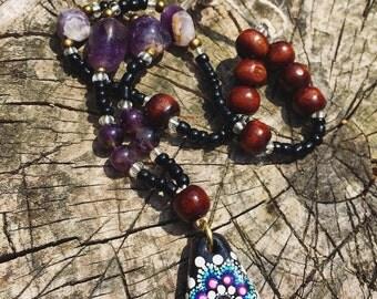 Amethyst Mandala Pendant Necklace