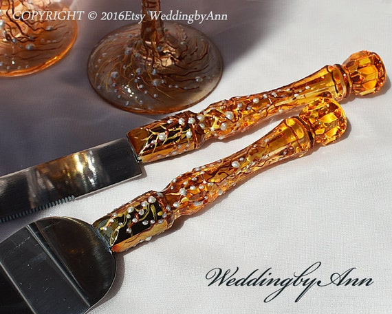 wedding cake knife server set fall wedding cake server set amp knife autumn wedding cake 8677