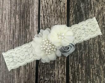 Lace floral headband, ivory and grey headband, lace headband, vintage headband, ivory headband, ivory lace headband, flower girl
