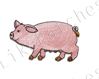 Pink Pig Cute Animal New Sew / Iron on Patch Embroidered Applique Size 9.5cm.x5.3cm.