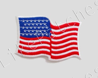 U.S.A. American Flag - Flag of America New Iron On Patch Embroidered Applique Size 8.5cm.x5.5cm.