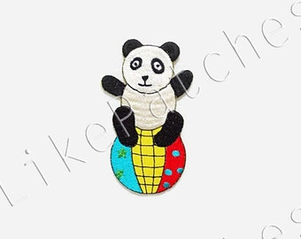 Panda Play Fancy Ball Circus Happy Animal Funny New Sew / Iron On Patch Embroidered Applique Size 5.3cm.x9cm.