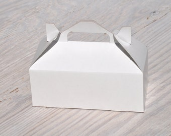 10 Medium White Gable Box 8x4x3 Favor Boxes