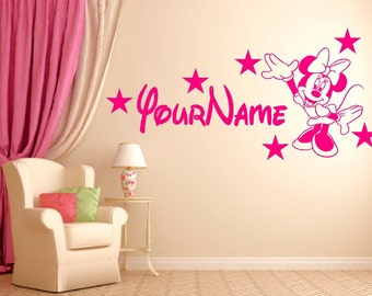 Personalized Minnie Mouse Custom Name Wall Saying Vinyl Sticker Decal Mirror Kids Room Decor Kid Nursery Door Home Play