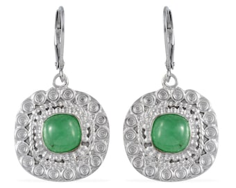Green Jade Cushion Cut Lever Back Earrings in Silver-tone and Stainless Steel Lever Backs TGW 5.20 cts.