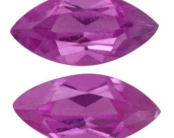 Pink Sapphire Lab Created Synthetic Loose Gemstones Set of 2 Marquise Cut 1A Quality 5x2.5mm TGW 0.30 cts.