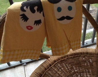 Vintage yellow his and hers dish towels