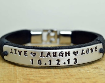 mens leather bracelets engraved � etsy au
