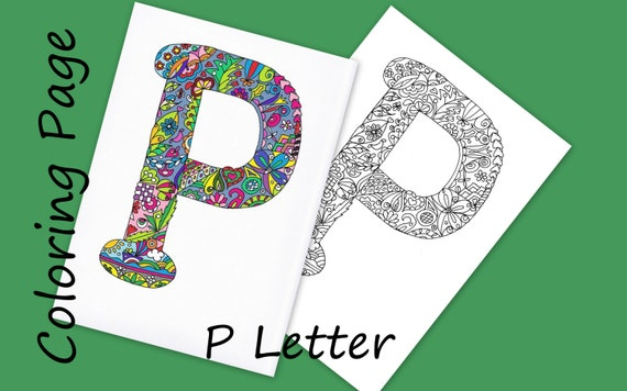 Coloring Letter P Download Adult Coloring Page Hand Drawn