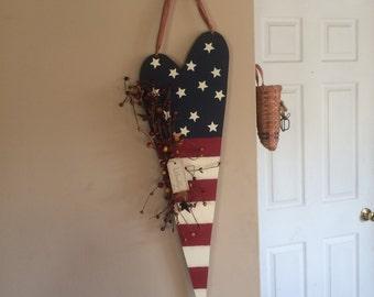 Primitive American Flag Wood Decor