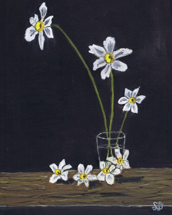 Samdoumart white flowers black background still life original white flowers black background still life original art 12x16 oil painting mightylinksfo