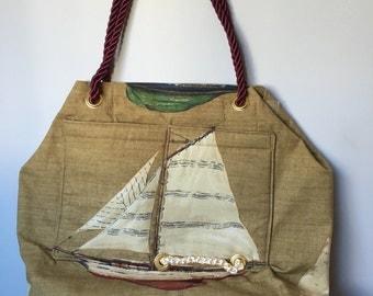 Maroon Nautical Sailboat Tote Bag with Rope Handle
