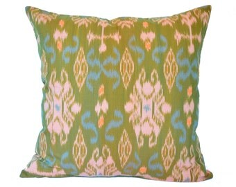 18 x 18 Lime Green Ikat Cushion Cover, Pillow Cover
