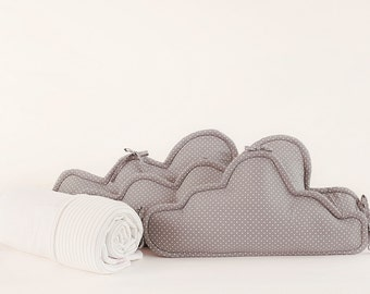 Crib bumper/cradle bumper, baby cot bumper, baby crib bumper, head bumper, baby bumper, bed bumper- Clouds bedding set - grey & cream