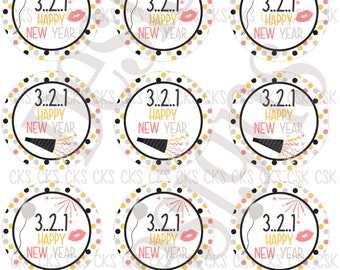 "1"" Digital Bottle Cap Sheet **INSTANT DOWNLOAD** Happy New Year"