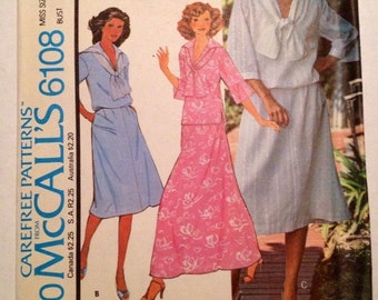1978 Carefree Patterns from McCall's # 6108 Top and Skirt, Misses Size 14, Uncut