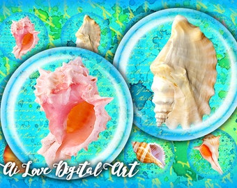 Sea Shells digital collage sheet, 1.5 inch, 30mm, 1 inch circle digital download cabochon printable, bottlecap images, summer jewelry making