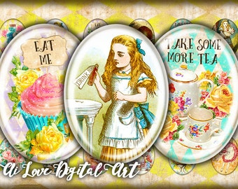 Alice in Wonderland digital collage sheet, oval 18x25mm, 22x30mm, 30x40mm digital printable images instant download cabochon, jewelry making