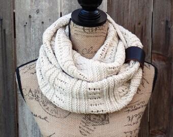 Womens Infinity Knit Scarf, Ivory Knit Scarf, Knit Scarves, Knitted Scarves, Infinity Knit Scarf, Womens Knit Scarves, Infinity Scarves