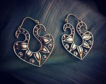 Golden Nomad Gypsy Hoops, Asiatic design. Beautiful Brass Earrings..