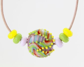 Yellow Lampwork Necklace, Handmade Glass Lampwork Beads Necklace, Green Necklace, Pink Necklace, Adjustable Necklace, Bead Leather