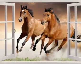 HORSES 3D Window View Decal WALL STICKER Home Decor Art Mural Animals
