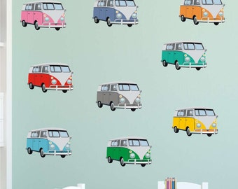 CAMPERVAN Fabric Wall Stickers, side view. Repositionable. reusable surfing seaside wall decals