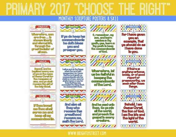 "Primary 2017: ""Choose the Right"" Monthly Scripture Posters"