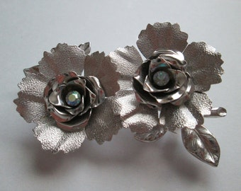 Vintage Signed Coro Silver Tone AB Rhinestone Flower Brooch