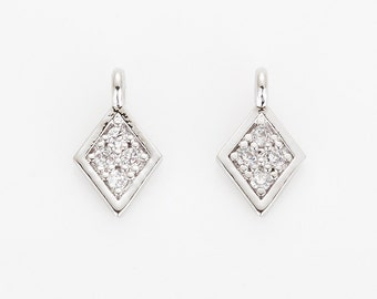 Plated Diamond shaped Crystal Cubic pendant Polished Rhodium - plated- 2 Pieces [AA0084-PR]