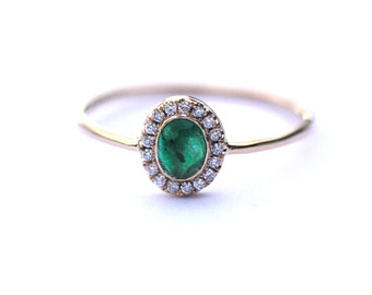 Emerald Ring, Halo Ring, Solid 14k Gold, Engagement Ring, Emerald Engagement Ring, Fine Jewelry