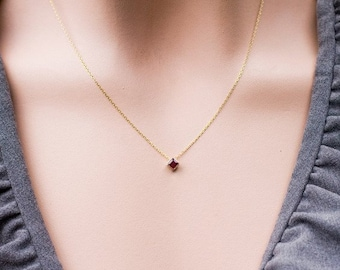 Square Ruby Necklace in 14k yellow gold, 14k gold handcrafted jewelry, Anniversary gift for her, Birthday gift, Handmade jewelry