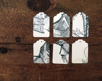 Assorted Letterpress Gift Tags 6 Pack - Blue