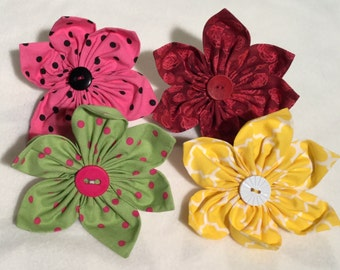 Patterned Fabric Petal Collar Flowers