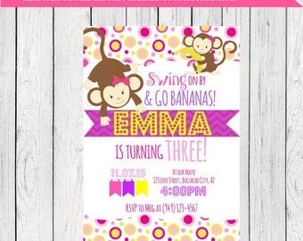 Monkey birthday invitation- ***Digital File*** (Monkey-Wht01)