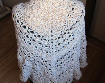 Crochet Shawl,Triangle Shawl,Hippie Shawl,Boho Shawl,Gypsy Shawl,Bohemian Shawl,Winter Shawl,Shabby Chic,Wrap,Poncho,Metallic Thread,Gift