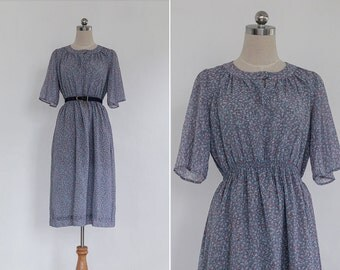 Vintage 80s Grey Pink Small Floral High Waisted Midi Dress | Vintage High Waisted Skirt Summer Dress | Long Skirt Dress S