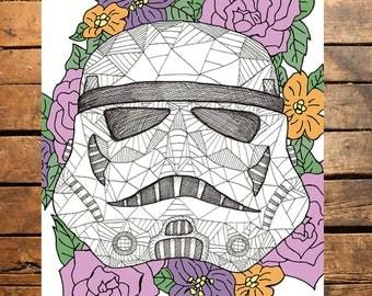 Floral Star Wars Storm Trooper Digital File