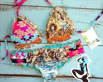 Fringe Bikini, southwest bikini, aztec bikini, Festival Bikini, Cute Bikini beaded Bikini, Unique Bikini, Swimsuit Floridita Seminole Bikini