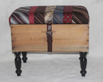 Wine Crate Ottoman Upholstered With Neckties