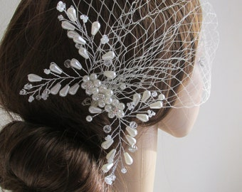 Birdcage Veil and a Swarovski  Clip -(2 Items) - Bridal Headpiece,Rhinestone Bridal Clip, Weddings,Blusher Bird Cage Veil