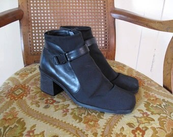 Black Neoprene Buckle Boots 9