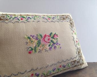 Swedish vintage embroidered pillow Shabby roses pillow Scandinavian pillow Retro throw pillow Decorative cross stitch pillow