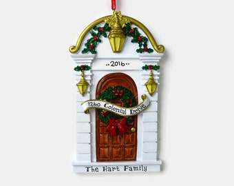 Brown Door Personalized Ornament - New Home - First Apartment - Hand Personalized Christmas Ornament