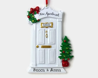 New Apartment Personalized Ornament - White Door - Hand Personalized Christmas Ornament