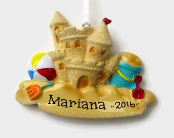 SHIPS FREE - Sandcastle Personalized Ornament - Beach Vacation - Hand Personalized Christmas Ornament