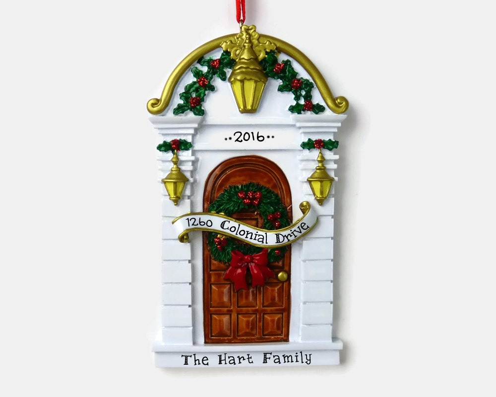 Brown door personalized ornament new home first apartment for First apartment ornament