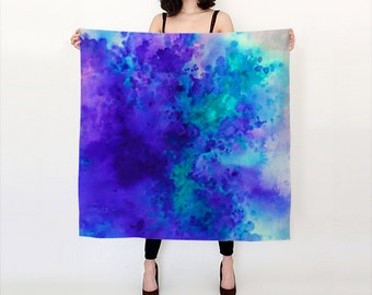 Purple and Teal, Watercolor, Silk Scarf, Original Abstract Watercolor,